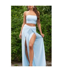 sexy zomer set- open broek + bandeau top blauw