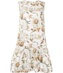 oscar de la renta floral-print peplum-hem dress - brown