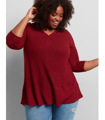lane bryant women's henley mixed-stitch tunic tee 10/12 pomegranate