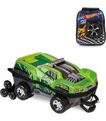 mochila 3d com rodinhas e lancheira hot wheels dawgzilla 2500dm19 lançamento masculina