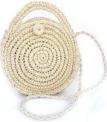 cartera nuevas historias circular tejido con manijas papel de arroz k1606