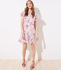 loft floral flutter flounce dress