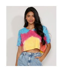 camiseta feminina estampada tie dye manga curta cropped ampla decote redondo multicor