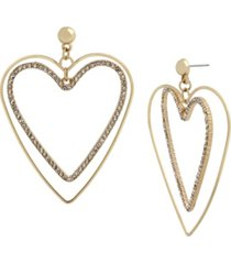jessica simpson pave heart drop earrings