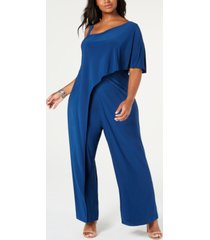 r & m richards plus size one-shoulder jumpsuit