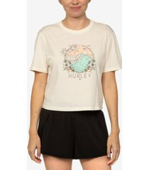 hurley juniors' leona cotton cropped graphic t-shirt