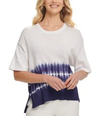 dkny ribbed cotton tie-dye sweater