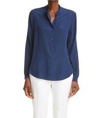 women's stella mccartney eva silk crepe de chine blouse, size 6 us - blue
