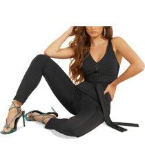 guess sleeveless tie-waist jumpsuit