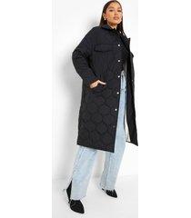 gewatteerde long line jas met ruitvormige stiksels, black