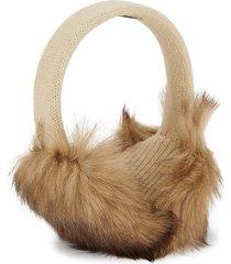 portolano women's textured shearling earmuffs - wheat