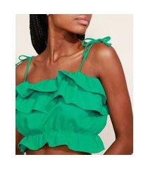 top cropped feminino mindset com linho e babados alça fina decote reto verde