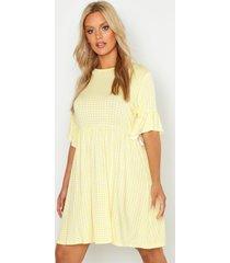 plus geruite gesmokte jurk, geel