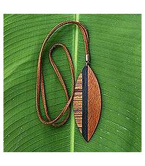wood pendant necklace, 'jungle beauty' (brazil)