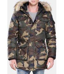 plus camo down jacket imbottito stile militare inverno addensare cappotto caldo per gli uomini