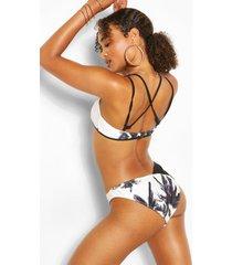 palm print crop v front leg bikini, black