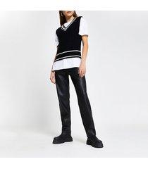 river island womens black cable knit sleeveless cardigan