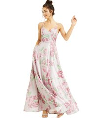rtv- crystal doll juniors' strappy-back floral glitter ball gown
