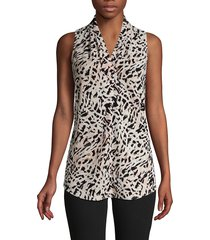 calvin klein women's sleeveless print blouse - blush multi - size xs