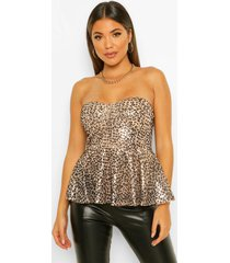 dierenprint strapless peplum top met pailletten, black