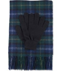 barbour men's tartan scarf and glove gift set