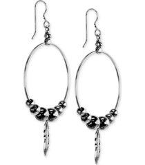 american west feather & bead hoop drop earrings in sterling silver