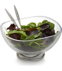 nambe 'braid' glass salad bowl & servers, size one size - metallic