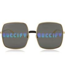 gucci designer sunglasses, rectangular-frame metal sunglasses w/guccify print