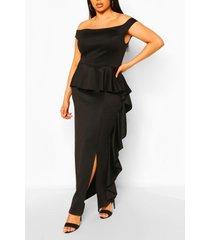 plus off the shoulder peplum maxi dress, black