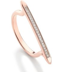 diamond skinny stacking ring, rose gold vermeil on silver