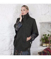 irish aran batwing jacket charcoal m/l