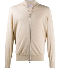brunello cucinelli contrast-trimmed zip-up cardigan - neutrals