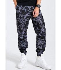 hombre camo print zip front tapered carga pantalones