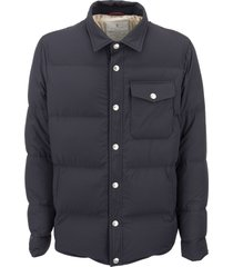 brunello cucinelli opaque nylon down jacket with patch pocket