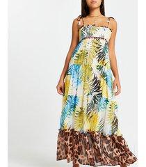 river island womens blue shirred tiered maxi beach dress