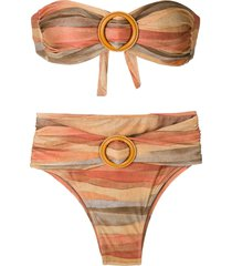 brigitte striped bandeau bikini set - multicolour