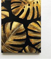 golden monstera - obraz z płaskorzeźbą