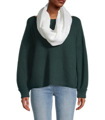 calvin klein women's square-stitched scarf - cream
