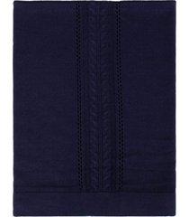 manta tricô tamine luxo especial trança azul marinho
