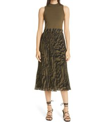 ted baker london faux two-piece midi dress, size 3 in olive at nordstrom