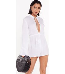 womens flare i wanna be flared sleeve romper - cream