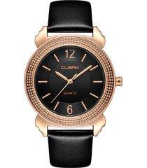 orologi al quarzo da donna classici orologi di lusso con cinturino in vera pelle, cinturino in vera pelle, in oro rosa