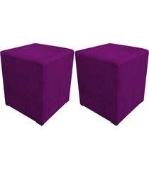 kit 02 puff decorativo dado quadrado suede roxo - d'rossi