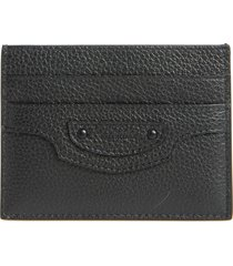 men's balenciaga neo classic leather card holder - black