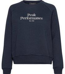 w original crew cold blush sweat-shirt tröja blå peak performance