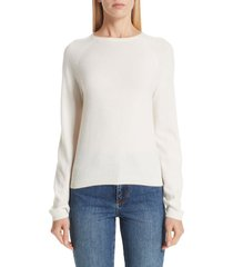 women's co silk blend raglan sweater, size medium - ivory