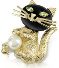 az collection designer brooches & pins, green-eyed cat pin