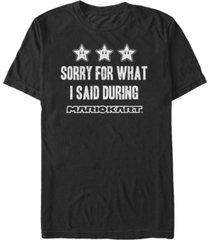 nintendo men's mario kart sorry for what i said short sleeve t-shirt