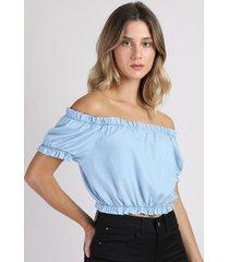 top cropped jeans feminino ombro a ombro manga curta azul claro