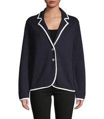 notch lapel cotton-blend jacket